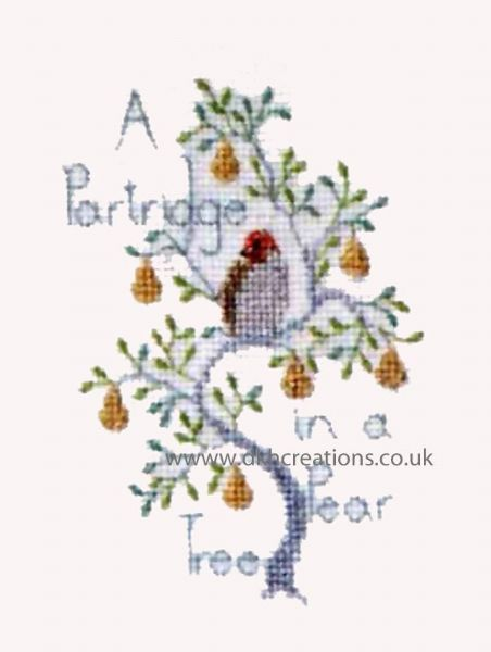 Partridge In A Pear Tree Christmas Card Cross Stitch Kit